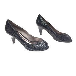 DKNYC Black Snakeskin Print Leather Peep Toe Heels